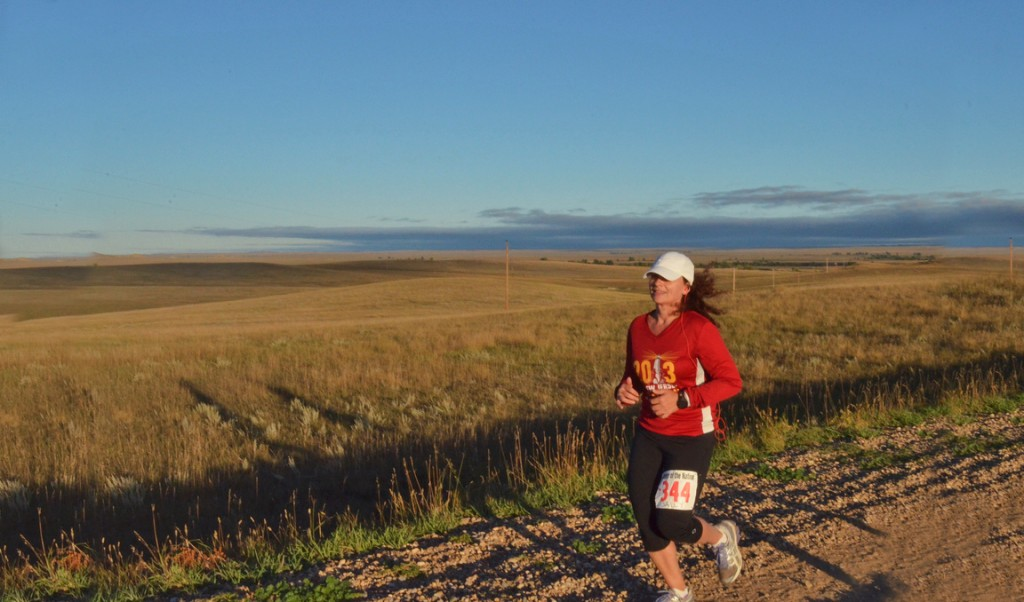 running in Wyoming on a cold and windy day