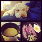 doodle + coffee + bacon and eggs = happy girl