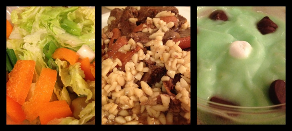 salad-pot roast and orzo-pistachio pudding
