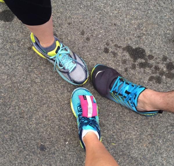 running sneaker selfie