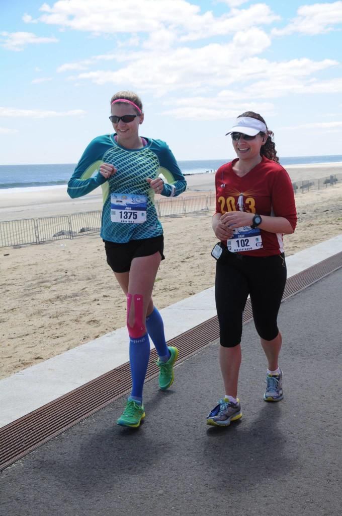 Jane and I at mile 25 of last year's NJ Marathon